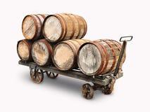 Alte hölzerne Weinfässer Stockbild