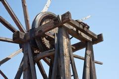 Alte hölzerne Windmühle am La Palma, Kanarische Inseln Stockfotografie
