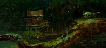 , Alte Hütte im Sumpf nachts zeichnen vektor abbildung