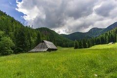 Alte Hütten auf dem Jaworzynka-Tal Tatra Berge polen Stockbilder