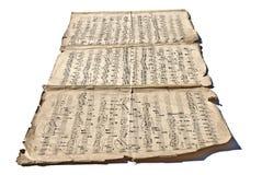 Alte handgeschriebene Anmerkungen Stockbilder