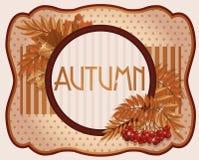 Alte Herbstpostkarte mit Ebereschenbeere Lizenzfreie Stockfotografie