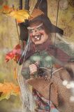 Alte Hexe auf Halloween-Dekoration Lizenzfreie Stockbilder