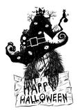 Alte Hexe in Halloween-Hintergrund Stockfoto