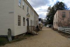 Alte historische Gebäude, die darstellen, welches Leben wie in die Tage vergangen war, Erdbeere Banke, Portsmouth, New Hampshire, lizenzfreies stockbild