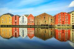 Alte historische Gebäude in Trondheim, Norwegen Stockbild