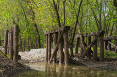 Alte hölzerne Brücke im Holz Stockfotografie