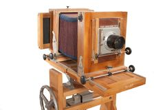 Alte hölzerne große Format-Kamera Stockfotografie