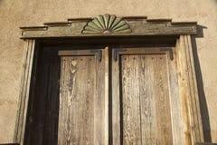 Alte Holzarbeit im alten New Mexiko Stockfotografie
