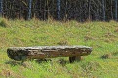 Alte Holzbank auf einem Feld mit einem Wald im Hintergrund Lizenzfreie Stockbilder