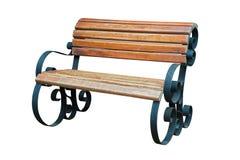 Alte Holzbank mit den Stahlbeinen lokalisiert Lizenzfreie Stockbilder