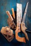 Alte Holzbearbeitunghilfsmittel Stockfoto