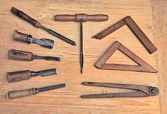 Alte Holzbearbeitunghilfsmittel Stockfotografie