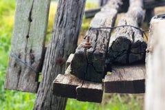alte Holzbrücke der Abschluss-Säulen Lizenzfreie Stockfotos