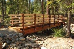 Alte Holzbrücke im Wald mit Sonnenschein stockfoto