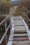 Alte Holzbrücke mit der Verfehlung einiger Bretter Lizenzfreie Stockbilder