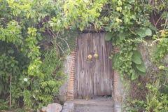 Alte Holztür an der alten Stadt Lizenzfreies Stockfoto