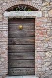 Alte Holztür mit goldenem Löwetürklopfer Lizenzfreies Stockfoto