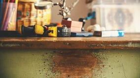 Alte Holztisch-Details Stockbilder