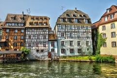 Alte Häuser im Bezirk von La Petite France in Straßburg Lizenzfreie Stockfotos