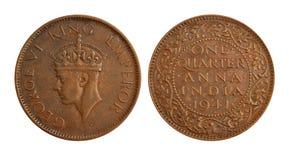 Alte indische Bargeld-Münze - ein viertel Anna Lizenzfreie Stockfotos