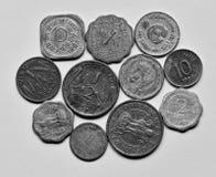 Alte indische Münzen Stockfotografie