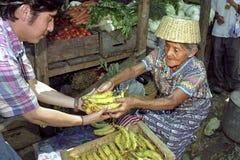 Alte indische Marktfrau verkauft Obst und Gemüse Stockbild