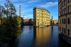 Alte industrielle Landschaft in Norrkoping Stockfotografie