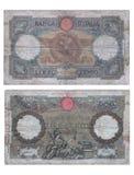 Alte italienische Banknote Stockfoto