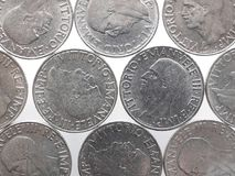 Alte italienische Lira mit König Vittorio Emanuele-III lokalisiert über Weiß Lizenzfreie Stockfotos