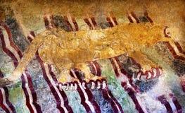 Alte Jaguar-Malerei Wand-Teotihuacan Mexiko City Mexiko Stockfotografie
