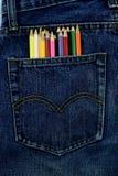 Alte Jeans setzten Ihre Gesäßtasche Stockbilder