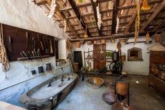 Alte Küche Mittelalterliches Landsitzmuseum La Granja auf der Insel stockbild