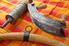 Alte Küchenwerkzeuge für die Produktion von Fleischwaren Lizenzfreie Stockfotografie
