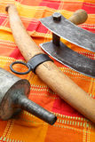 Alte Küchenwerkzeuge für die Produktion von Fleischwaren Stockbild
