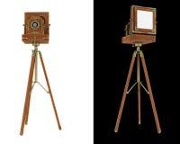 Alte Kamera des großen Formats auf dem Stativ getrennt Lizenzfreie Stockfotos