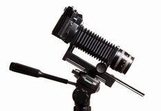 Alte Kamera mit Extension Stockbild