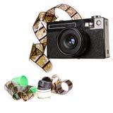 Alte Kamera und Film Lizenzfreies Stockfoto