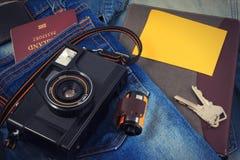 Alte Kamera, Weinlesekamera filmt populäres in der Vergangenheit Stockbild