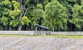 Alte Kanone auf dem Ufer Stockbild