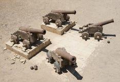 Alte Kanone an einem römischen Fort Stockbild