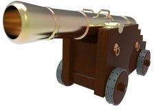 Alte Kanone mit hölzernem Wagen in der Vorderansicht stock abbildung
