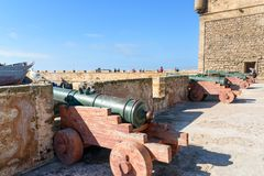 Alte Kanonen in der Festung in Essaouira marokko Lizenzfreie Stockfotografie