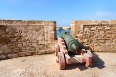 Alte Kanonen in der Festung in Essaouira marokko Stockbild
