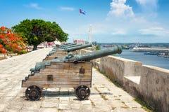 Alte Kanonen an der La Cabanafestung in Havana Stockfotos