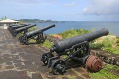 Alte Kanonen am historischen Fort George in St- George` s, Grenada lizenzfreies stockbild