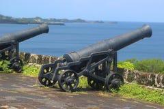 Alte Kanonen am historischen Fort George in St- George` s, Grenada stockfotografie