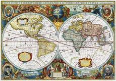 Alte Karte der mittelalterlichen Welt Stockbild