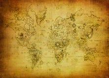 Alte Karte der Welt Stockfotografie