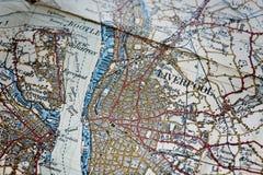 Alte Karte des Liverpool-Bereiches Stockbild